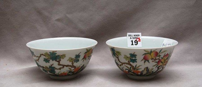 """19: 2 Chinese bowls, 19th c. signed, 4 1/4"""" dia x 2""""h"""