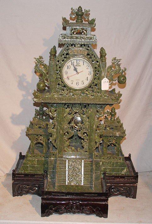 119A: Elaborate & marvelous carved oriental jade clock,