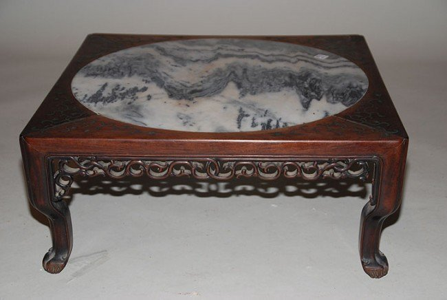132: Unusual Chinese low table with carved apron and br