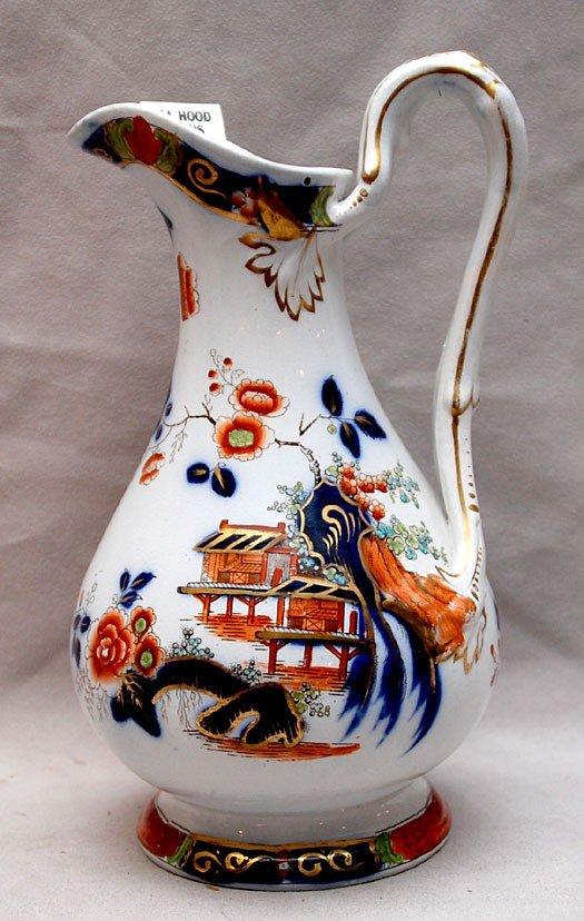 """3: Porcelain pitcher, oriental motif, 8 1/2"""" h"""