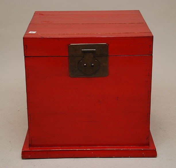 """5: Chinese red lacquer two handled trunk, 20 1/2""""h x 20"""