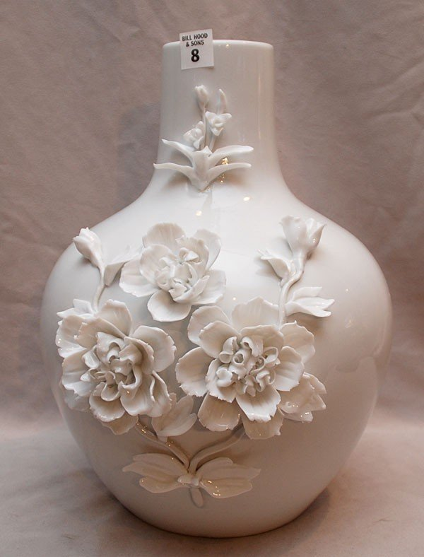 """8: Blanc de chin vase with applied flowers, 14""""h"""