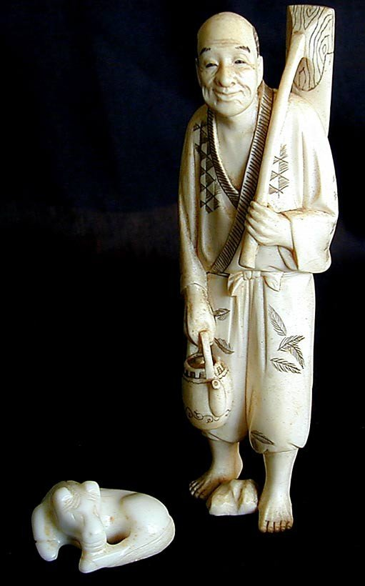 15A: 2 VINTAGE FIGURES ONE IVORY AND ONE HARD STONE