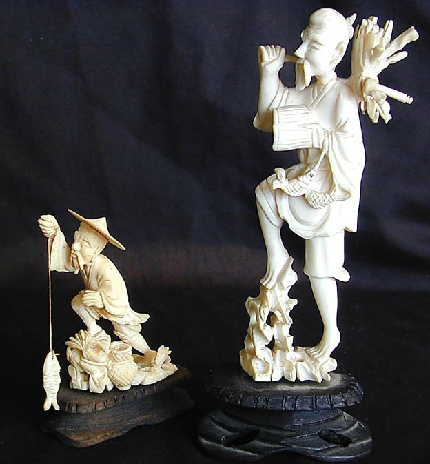 15B: 2 VINTAGE CHINESE IVORY FISHERMEN 2 Chinese carved