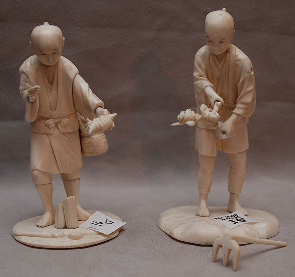 """16: Pair of oriental figures working the fields, 6""""h an"""