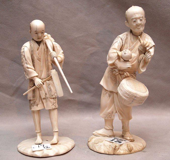"17: Pair of oriental gentlemen working their trade, 7""h"