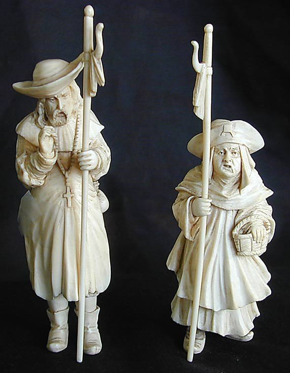 18A: PR 19THC CONTINENTAL IVORY FIGURES A pair of 19thC