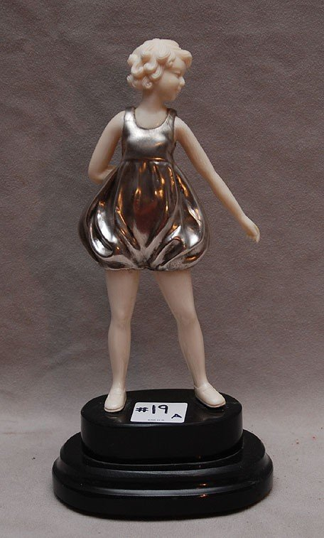 19A: Carved Ivory & Silvered Bronze Figure of a young g