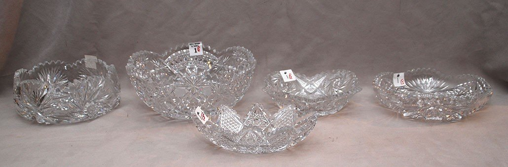 1: 5 assorted cut glass bowls; heights range from 3 3/4