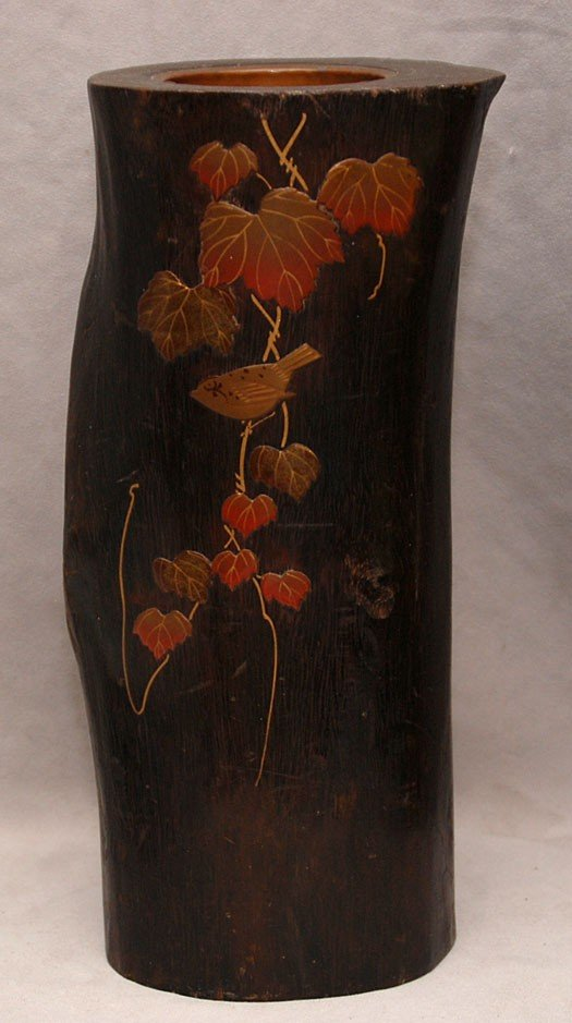 3A: Oriental carved wood brush pot with inlaid design,