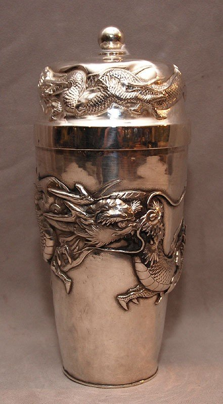 11: Chinese silver cocktail shaker with dragon motif, 8