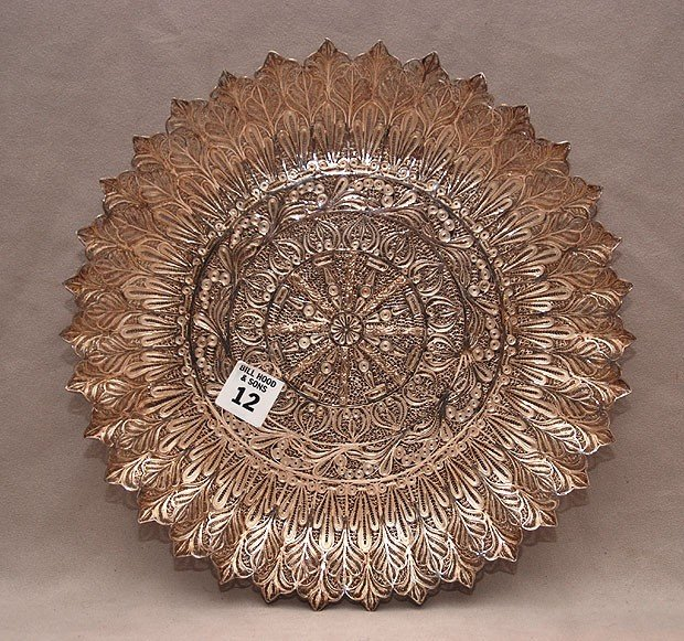 "12: Chinese silver filigree plate/dish on 3 feet, 1""h x"