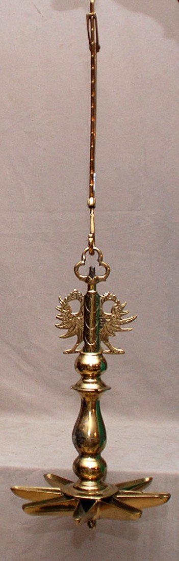 16A: Brass Judaic 18th/19th c. adjustable oil lamp