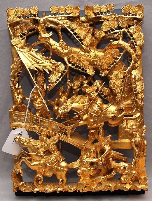 "17: Chinese gilded carving of men in battle, 16""h x 11"