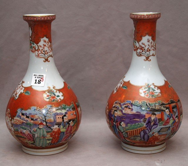 "18: Pair of export vases with figures in city, 11""h"