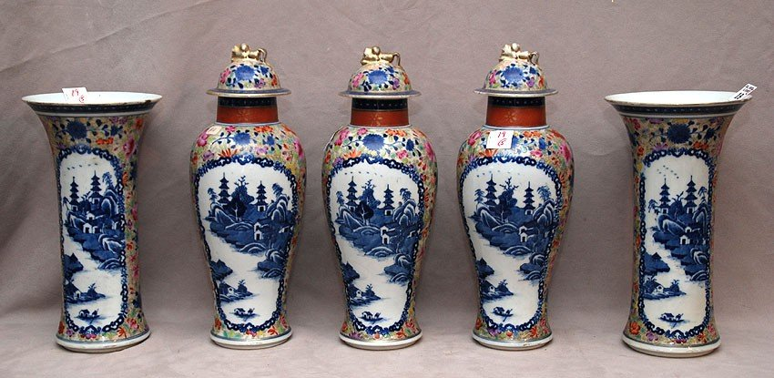 19: 5 oriental vases, 3 match with lids, 2 matching vas
