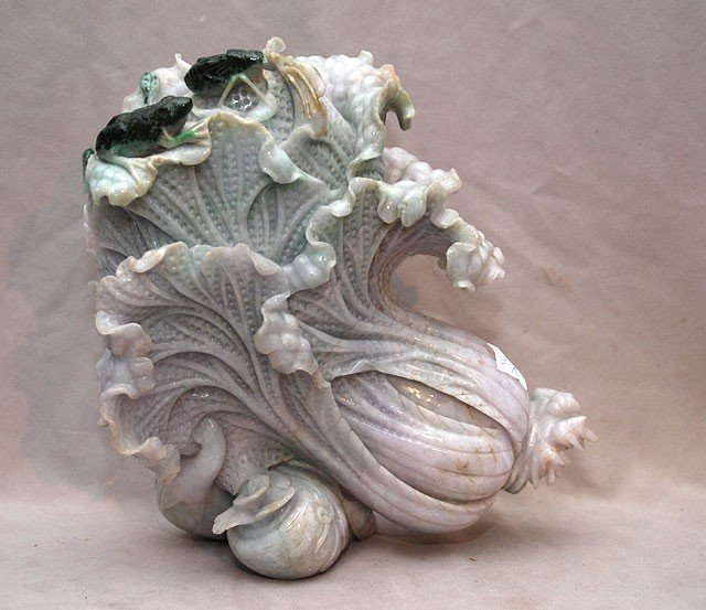 258: Large carved Jade in shape of a leafy cabbage with