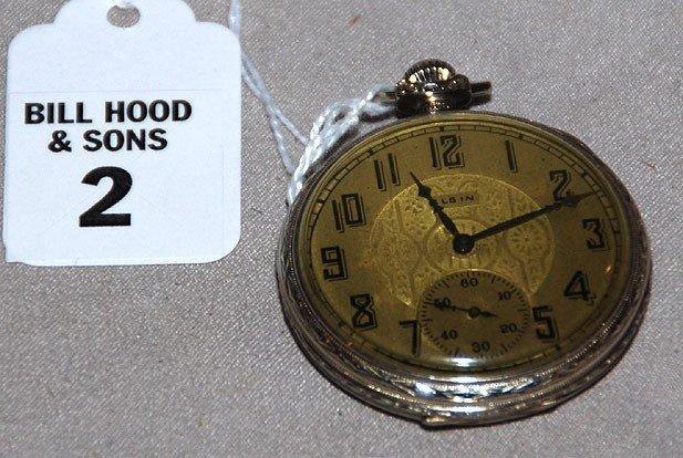 2: Elgin 14kt gold pocket watch, 17 jewels