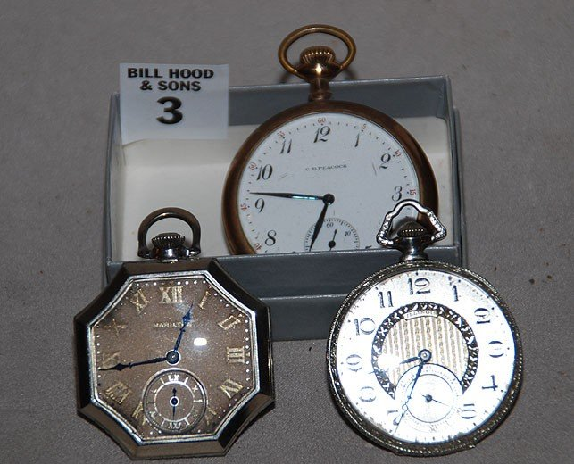 3: Lot of 3 old pocket watches, incl; octagonal shaped