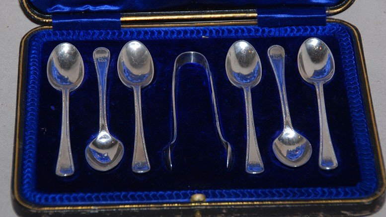 5: Demitasse spoon set with tongs, English sterling, or