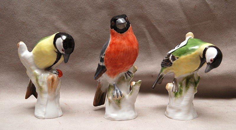 "11: 3 KPM porcelain birds, approx 4""h each, good condit"