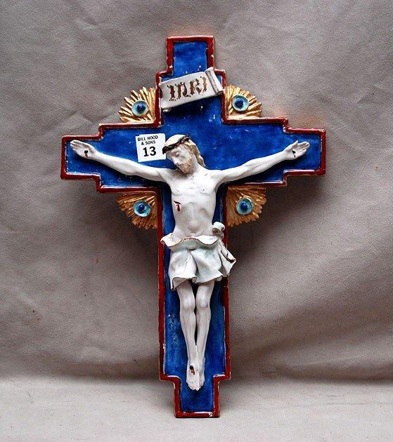 """13: Porcelain crucifix, 15""""h x 10""""w"""