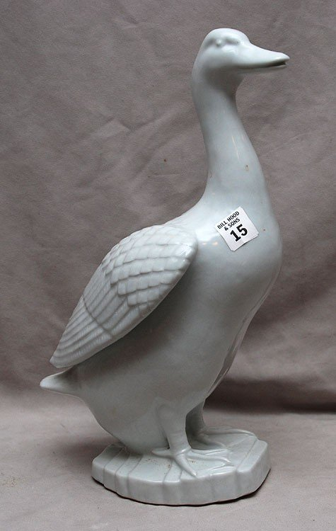 """15: Chinese porcelain duck, 20th c, 15""""h"""