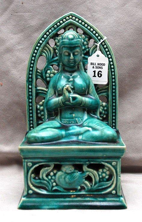 "16: Chinese green glazed porcelain Buddha figure, 9""h"