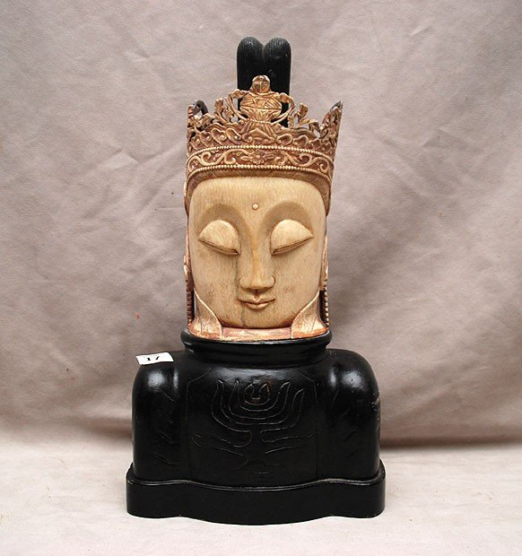 """17: Old Chinese carved ivory head on wood base, 8""""h"""
