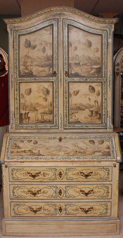 102: 19th c. Venetian 2 piece secretary with hand paint