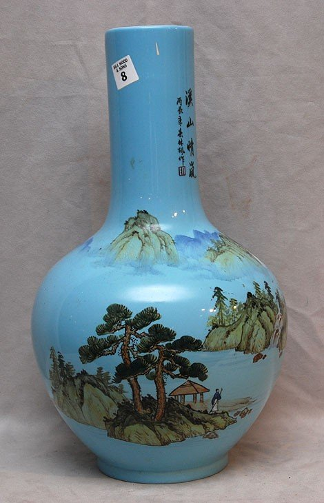 "8: Large bulbous blue Chinese vase, 17 1/2""h"