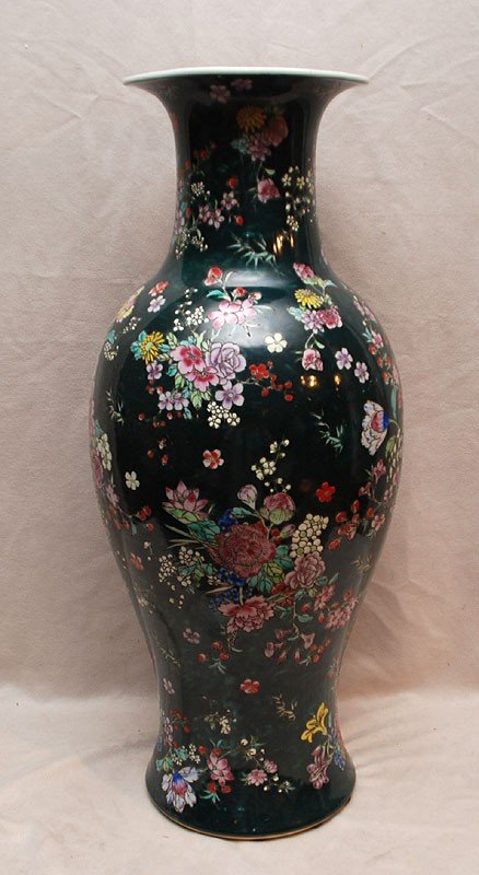 """9: Large """"Made In China"""" floral decorated vase, 24""""h"""