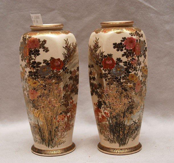 "14: Pair of Satsuma vases, floral decoration, 6 1/8""h"