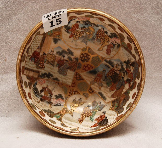 "15: Satsuma bowl, figural decoration, 2 1/8""h x 5""dia"