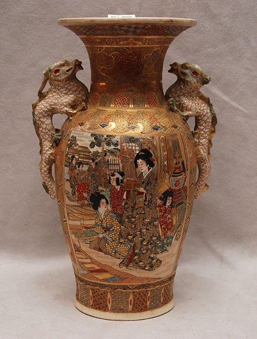 16: Satsuma vase, figural & mythological animal decorat