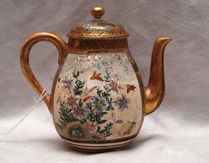 """20: Satsuma teapot, figural & bird decoration, 5 1/2""""h"""