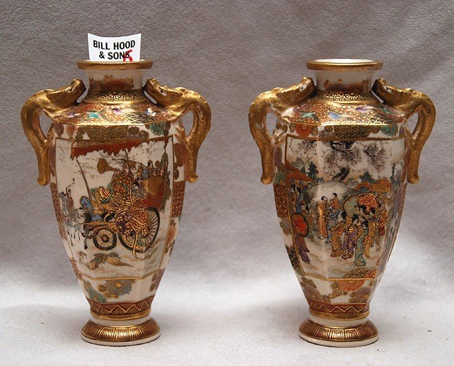 21: Pair Satsuma small vases, figural and horse warrior