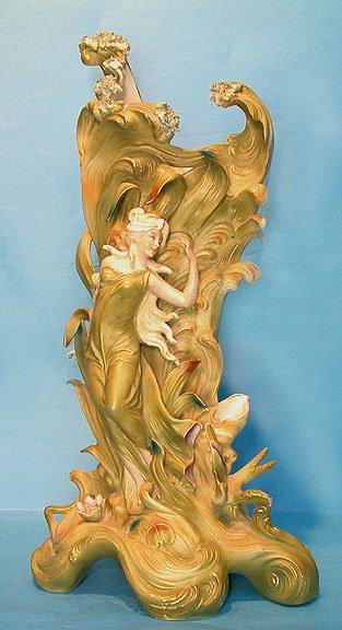 2: Art nouveau porcelain vase with lady marked Germany