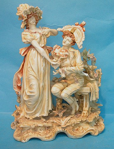 """5: Amphora type maiden and suitor figural group, 12""""h x"""