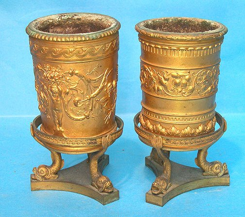 6: Pair of round Dore bronze mini jardinières goblets