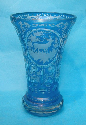 8: Bavarian glass vase, blue background, cut and etched