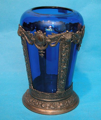 """9: Cobalt glass vase within 8""""h fancy silver plated orn"""