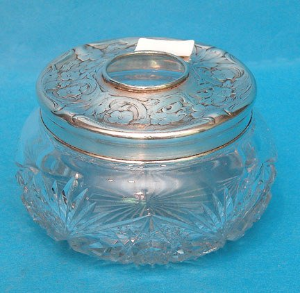 "10: Cut glass powder jar ca. 1915, 8""h x 6""diam"