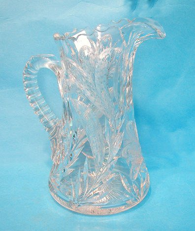 "11: Cut glass pitcher, ""Thistle"" pattern ca.1900, 10 1/"