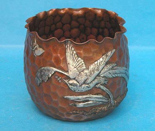 12: Gorham mixed metal bowl cup silver bird affixed