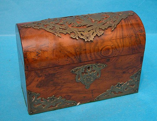 14: 19th century burled wood domed letter box with fanc