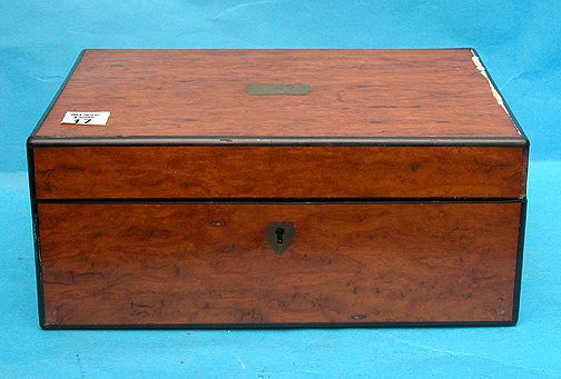 17: 19th Century burled box for jewelry, compartments w