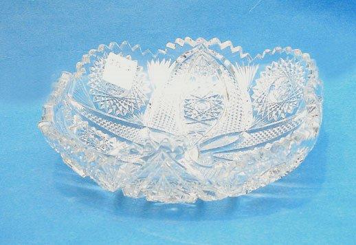 "19: Superb 7 3/4 diam2 3/4""h square cut glass bowl w/fo"