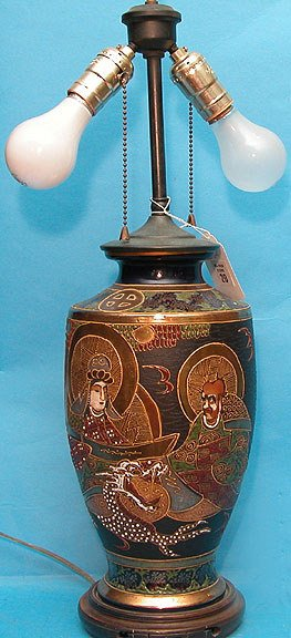 """20: Oriental lamp on 1"""" wood stand- emperor and empress"""