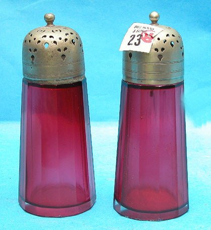 23: Pair of 19th cent cranberry glass bottles w/polishe